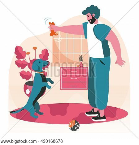 Pets With Their Owners Scene Concept. Man Playing Toy With Dog, Home Training With Ball. Taking Care