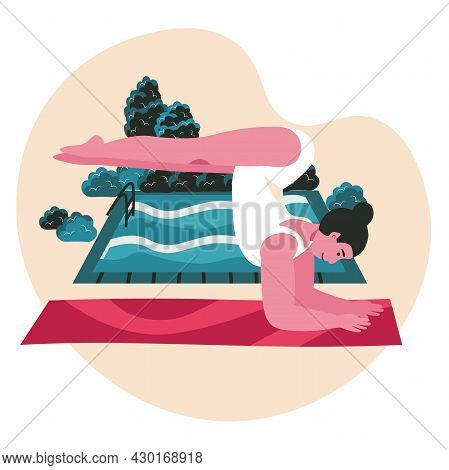People Doing Yoga Asanas Scene Concept. Woman Practicing Handstand Pose. Sports Training, Body Healt