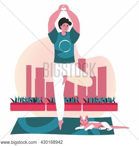 People Doing Yoga Asanas Scene Concept. Man Standing In Tree Pose With Cat. Sports Training, Balance