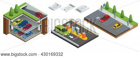 Isometric Underground Parking With Cars. Indoor Car Park Under House Or Office. City Parking Lot Wit