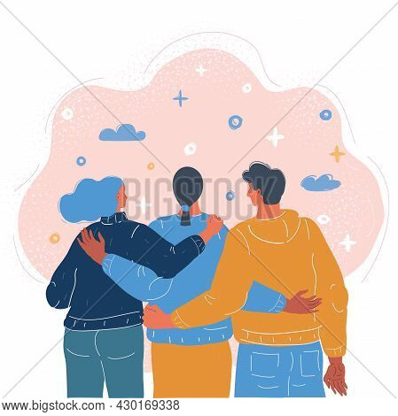 Vector Illustration Of Group Of Three Happy Friends, Boys And Girls, Hugging Each Other.