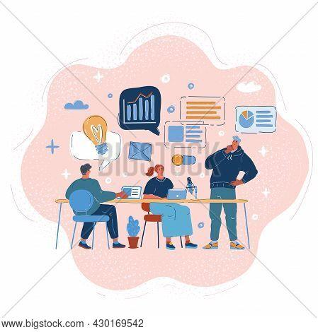 Vector Illustration Of Business People Group Get Tgether For Startup