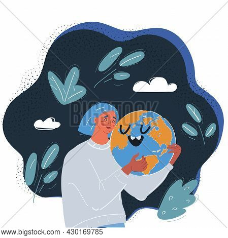Vector Illustration Of Woman Embracing Smiling Earth Globe On Dark Backround.
