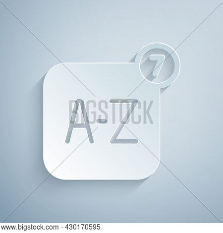 Paper Cut Online Translator Icon Isolated On Grey Background. Foreign Language Conversation Icons In