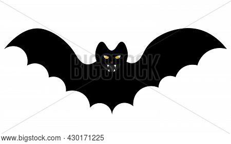 Bat. Silhouette. Terrible Toothy. Glowing Eyes. Vector Illustration. Isolated White Background. Flat