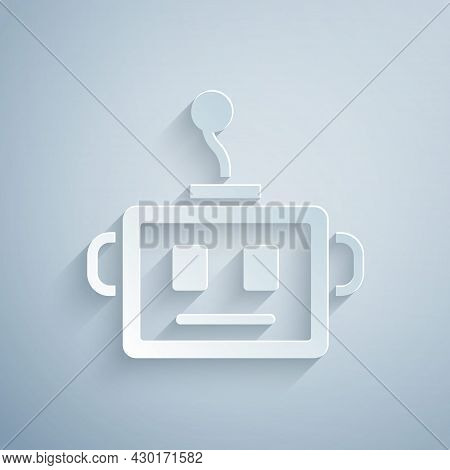 Paper Cut Artificial Intelligence Robot Icon Isolated On Grey Background. Machine Learning, Cloud Co
