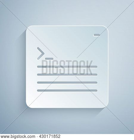 Paper Cut Software, Web Developer Programming Code Icon Isolated On Grey Background. Javascript Comp
