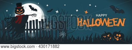 Halloween Banner Concept With Full Moon In The Night Sky, Spider Web, Scary Pumpkin, Jack Lantern Sc