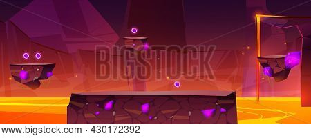 Game Level Background With Platforms Over Lake Of Lava In Stone Cave. Vector Cartoon Landscape Of Mo