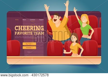 Cheering Favorite Team Website With People On Stadium. Vector Landing Page Of Sport Fan Group With C