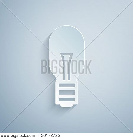 Paper Cut Light Bulb With Concept Of Idea Icon Isolated On Grey Background. Energy And Idea Symbol.