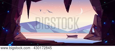 Cave Seaview Landscape With Lonely Wooden Boat Float On Water Surface. Hole In Rock With Ocean, Moun