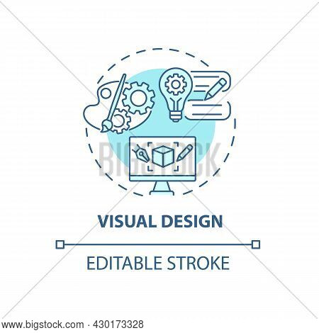 Visual Design Concept Icon. Ux Design Abstract Idea Thin Line Illustration. Visually Appealing Produ