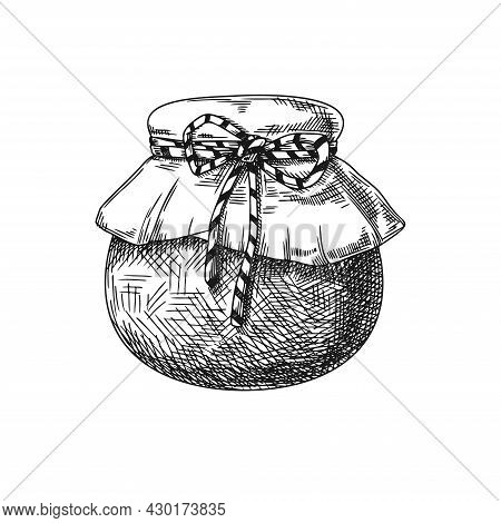 Jar Sketch With Honey, Jam, Preserves Isolated On A White Background. Vector Illustration