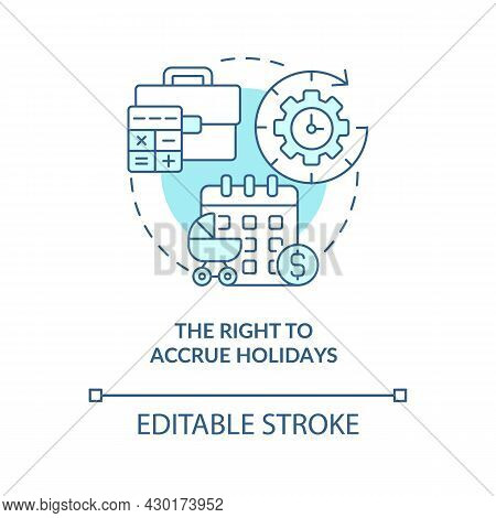 Right To Accrue Holidays Blue Concept Icon . Build Up Paid Holiday Abstract Idea Thin Line Illustrat