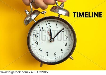Retro Alarm Clock On Bright Yellow Background. Timeline Concept, Optimization Of Work