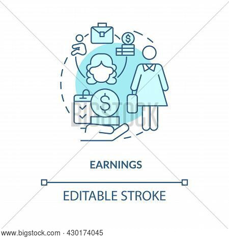 Earnings Blue Concept Icon. Maternity Leave Payment Abstract Idea Thin Line Illustration. Statutory
