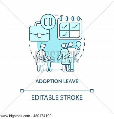 Adoption Leave Blue Concept Icon. Parental Rights Abstract Idea Thin Line Illustration. Statutory Ma