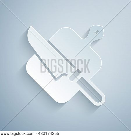 Paper Cut Cutting Board And Knife Icon Isolated On Grey Background. Chopping Board Symbol. Cutlery S