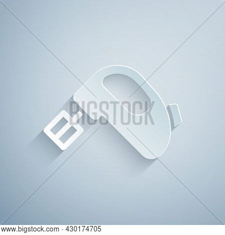 Paper Cut Electric Mixer Icon Isolated On Grey Background. Kitchen Blender. Paper Art Style. Vector