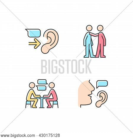 Verbal And Nonverbal Communication Rgb Color Icons Set. Message Receiver. Personal Touch. Exchanging