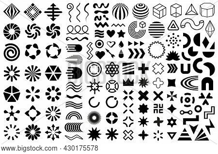Vector Shapes, Black Flat Geometric Design Elements. Memphis Set, Group Of Abstract Modern Shapes An