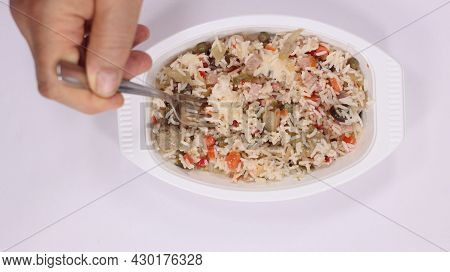 Rice Salad Ready In A Tray Cold Rice Salad In Prepackaged Food Tray