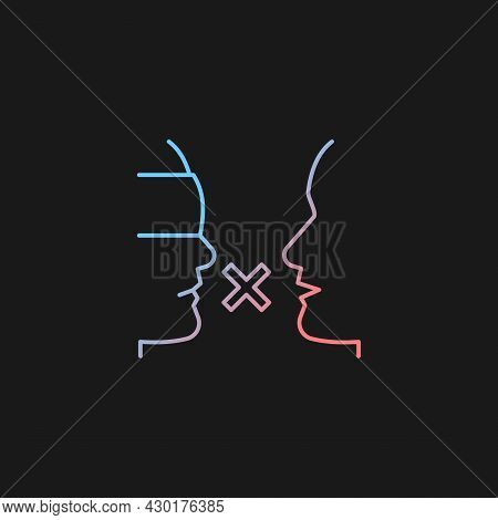 Biases Gradient Vector Icon For Dark Theme. Prejudice Toward Group. Impact On Relationships. Closed-