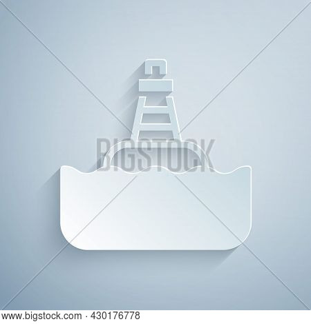 Paper Cut Floating Buoy On The Sea Icon Isolated On Grey Background. Paper Art Style. Vector