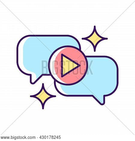 Talk Show Rgb Color Icon. Interview Broadcast For Television Entertainment. Watch Conversation Onlin