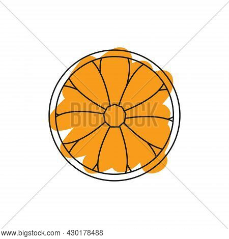 Vector Orange Icon For Your Projects. Natural Exotic Linear Fruit. Logo Of Tropical Fruit.