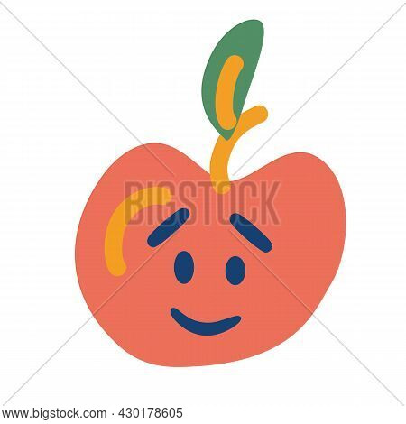 Apple With A Face. Apple Fruit Character Concept. Healthy Fruit. Sweet And Tasty. Vector Cartoon Ill