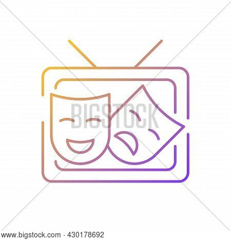 Tv Drama Gradient Linear Vector Icon. Theatrical Performance Translation. Television Program For Ent