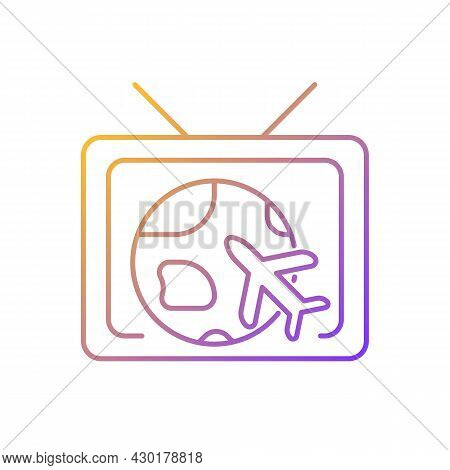 Travel And Adventure Show Gradient Linear Vector Icon. Journey Destination On Tv Series. Explore Wor