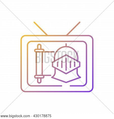 Historical Show Gradient Linear Vector Icon. Period Drama Tv Series. Streaming Service. Watch Docume
