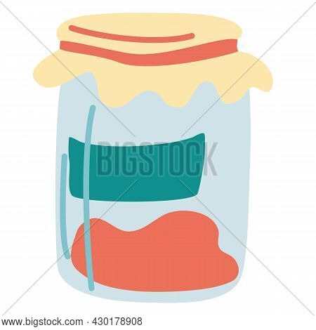 Jar Of Jam. Simple Food Icon. Delicious And Healthy Natural Food Homemade Marmalade. Useful Sweetene