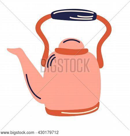 Vintage Teapot. Kitchen Appliance. Tea Time. Restaurant Menu Or Your Design. Tea Kettle. Vector Illu