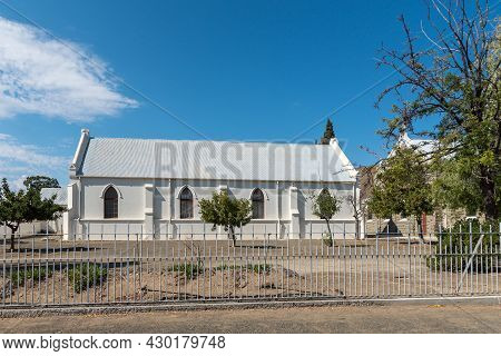 Laingsburg, South Africa - April 20, 2021: A Street Scene, With The Dutch Reformed Church Hall, In L