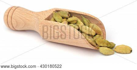 Cardamom Seeds Food Natural In Wooden Scoop