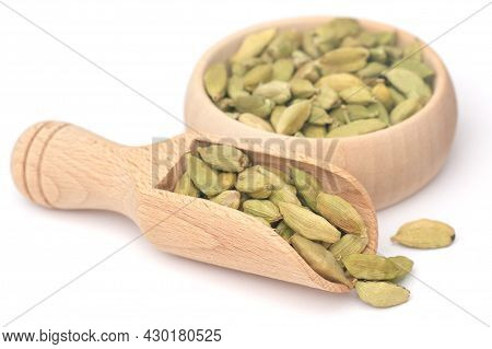 Cardamom Seeds Food Natul In Wooden Scoop