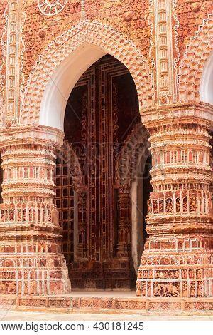 Terracotta Design In Wall Of Popular Kantajew Temple Of 18 Century In Bangladesh