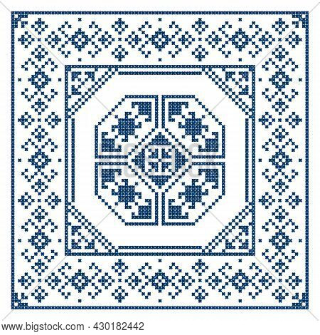 Bosnia And Herzegovina Embroidery Style Vector Design In Square Ornament In Frame  - Traditional Cro