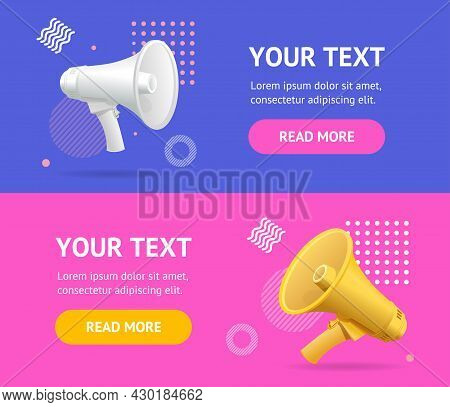 Banner Poster Card Ad Horizontal Set With Realistic Detailed 3d Megaphone. Vector Illustration Of Ba