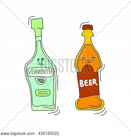 Beer And Vermouth With Smile On White Background. Cartoon Sketch Graphic Design. Doodle Style With B