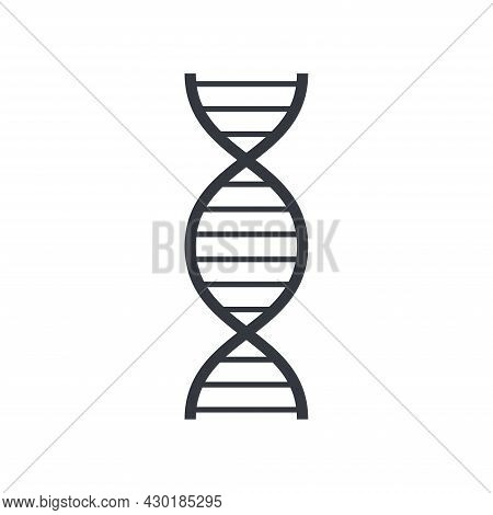 Black Outline Gene And Dna Symbol. Education And Knowledge Vector Icon. Fully Editable Stroke Isolat