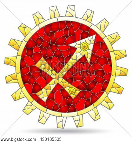 Illustration In The Style Of A Stained Glass Window With The Zodiac Sign Sagittarius, The Symbol Is