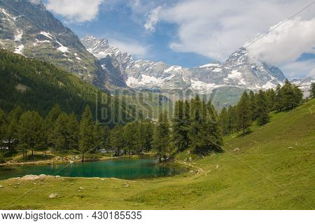 Panoramic View Of Lago Blue At The Feet Of Monte Cervino (matterhorn) In Valle D'aosta, Italy