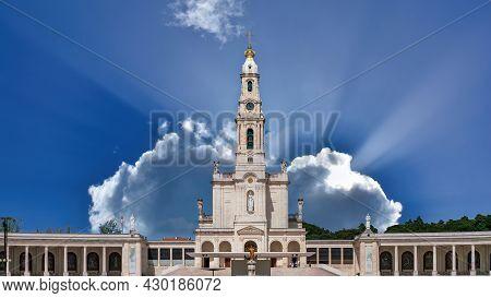 Fatima, Portugal - April 2018: Sanctuary Of Fatima, Portugal. One Of The Most Important Marian Shrin