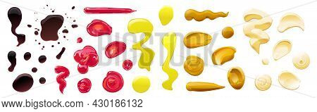 Big Sauce Puddles And Splashes Set. Soy, Olive Oil, Mustard, Ketchup And Mayonnaise Sauces. Condimen