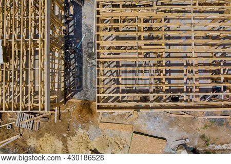 Wooden House In American Beams The View Of Building Frame Structure On A New Development Framing Of